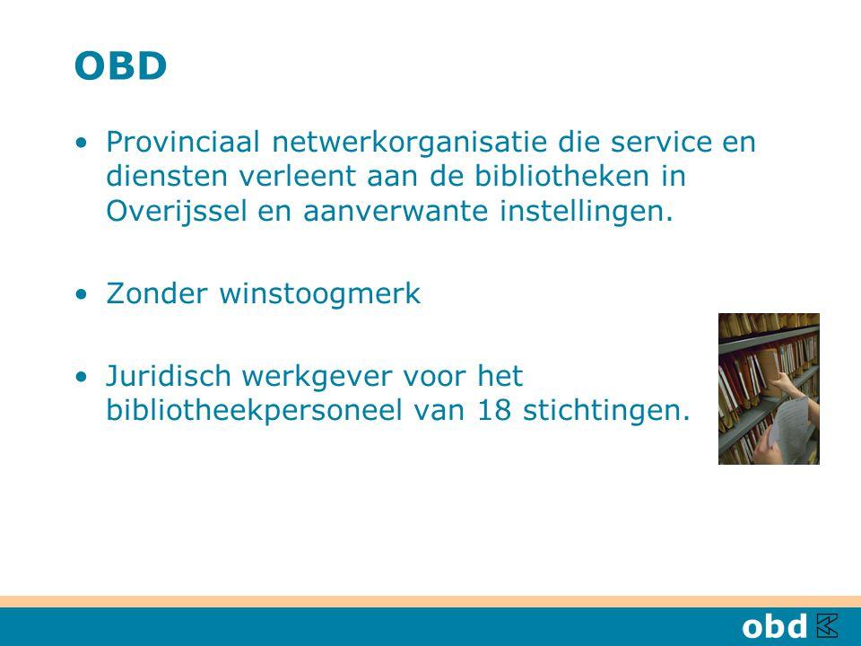 OBD Provinciaal netwerkorganisatie die service en diensten verleent aan de bibliotheken in Overijssel en aanverwante instellingen.