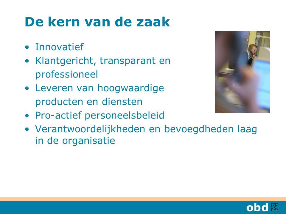 De kern van de zaak Innovatief Klantgericht, transparant en