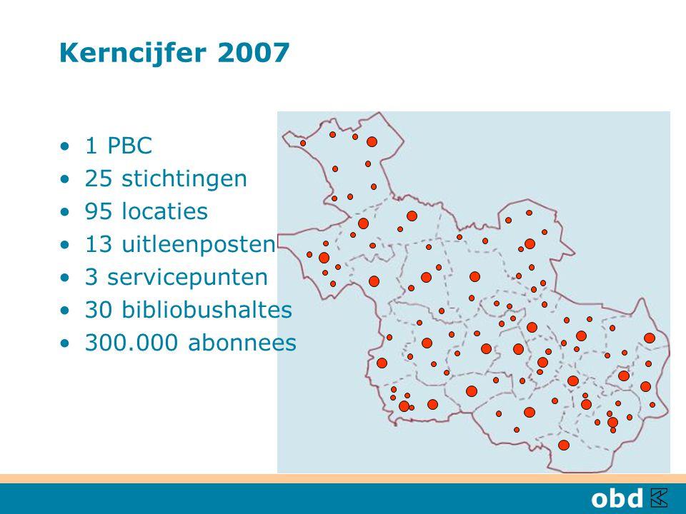 Kerncijfer 2007 1 PBC 25 stichtingen 95 locaties 13 uitleenposten