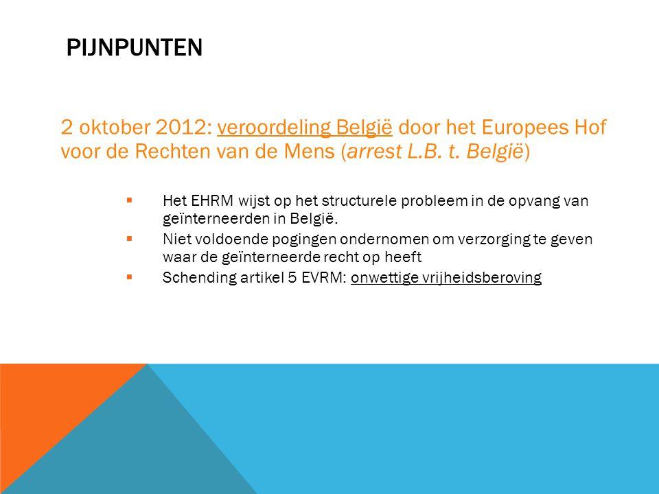 Pijnpunten 2 oktober 2012: veroordeling België door het Europees Hof voor de Rechten van de Mens (arrest L.B. t. België)
