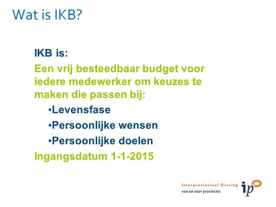 Wat is IKB IKB is: Een vrij besteedbaar budget voor iedere medewerker om keuzes te maken die passen bij: