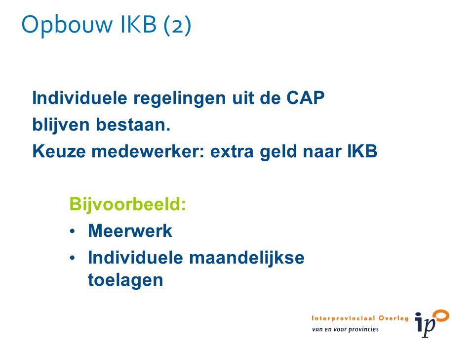 Opbouw IKB (2) Individuele regelingen uit de CAP blijven bestaan.