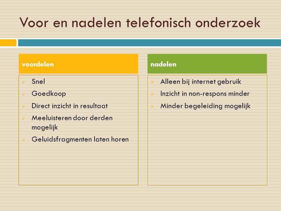 Voor en nadelen telefonisch onderzoek