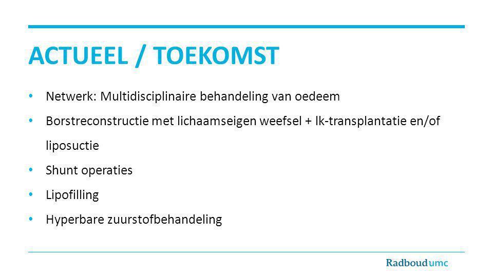 ACTUEEL / TOEKOMST Netwerk: Multidisciplinaire behandeling van oedeem
