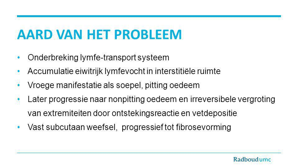 AARD VAN HET PROBLEEM Onderbreking lymfe-transport systeem