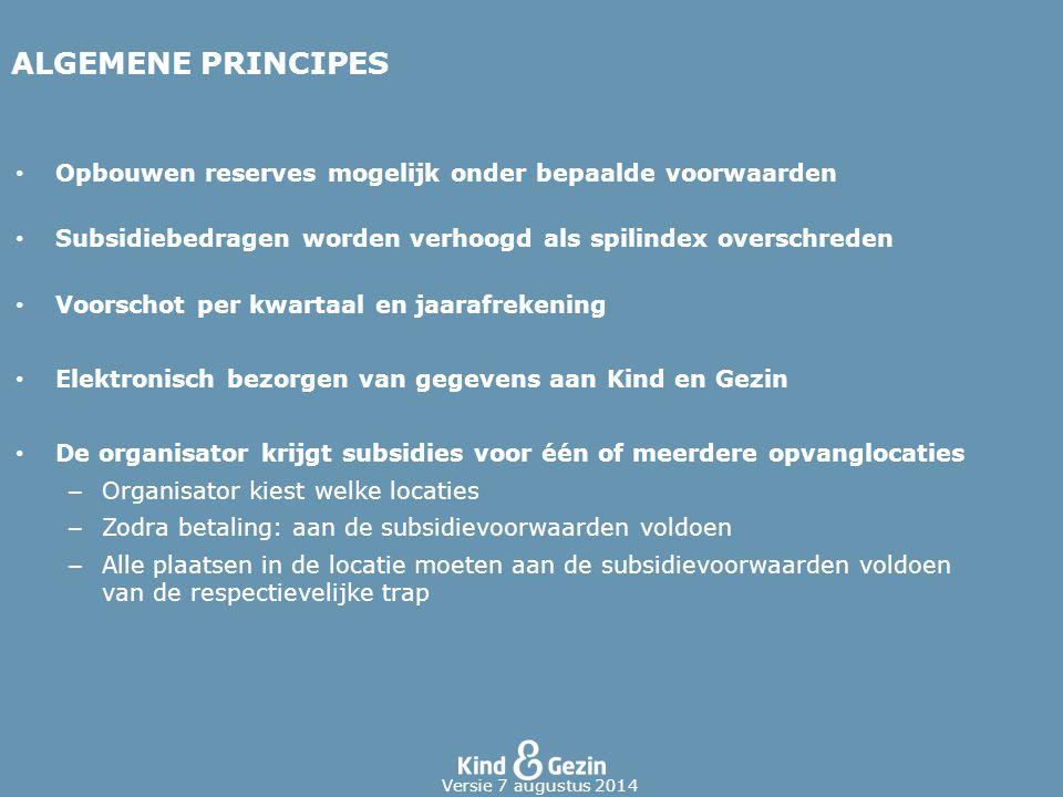 ALGEMENE PRINCIPES Opbouwen reserves mogelijk onder bepaalde voorwaarden. Subsidiebedragen worden verhoogd als spilindex overschreden.
