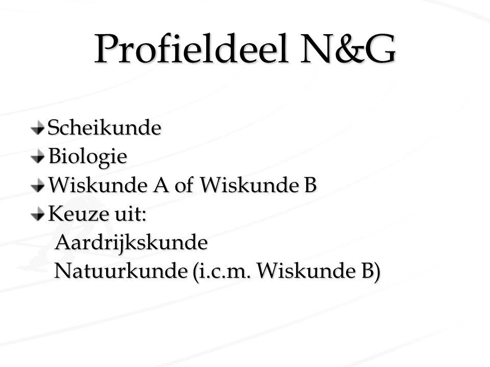 Profieldeel N&G Scheikunde Biologie Wiskunde A of Wiskunde B