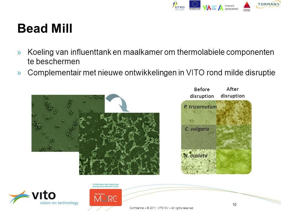 Bead Mill Koeling van influenttank en maalkamer om thermolabiele componenten te beschermen.