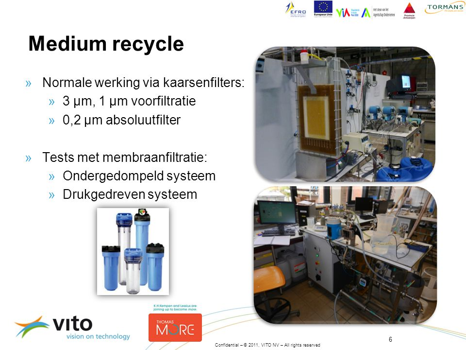 Medium recycle Normale werking via kaarsenfilters: