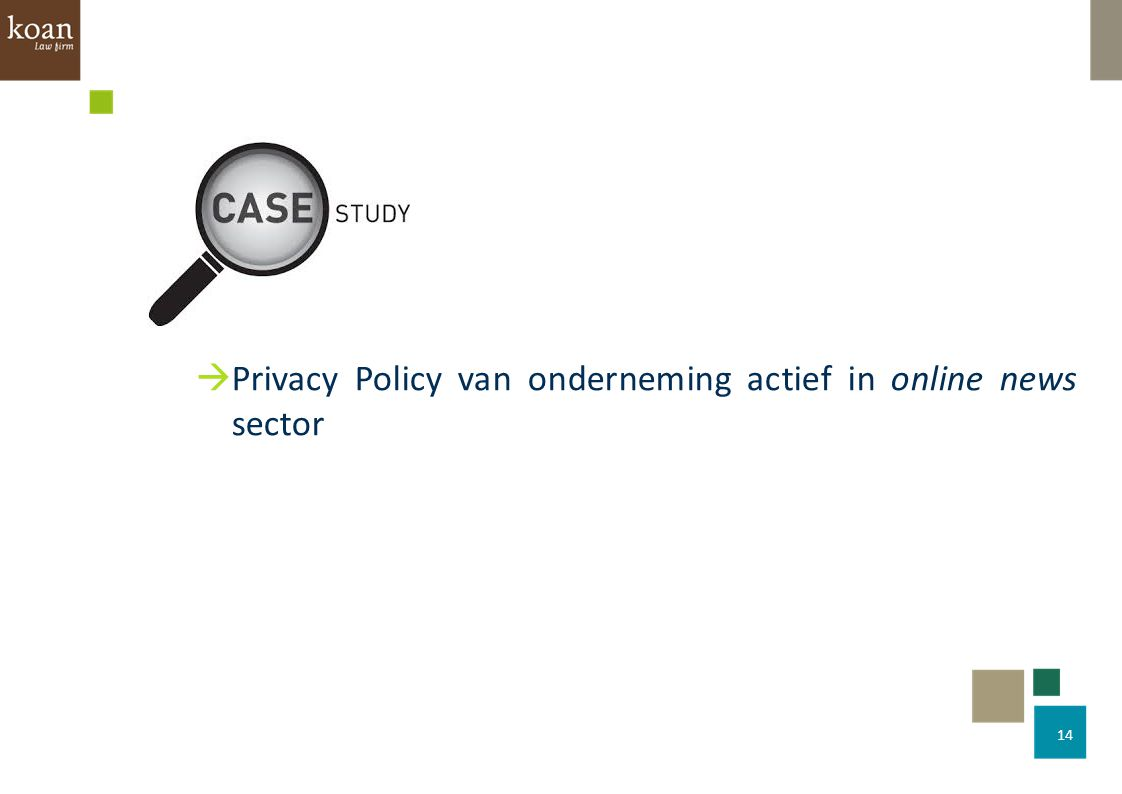 Privacy Policy van onderneming actief in online news sector