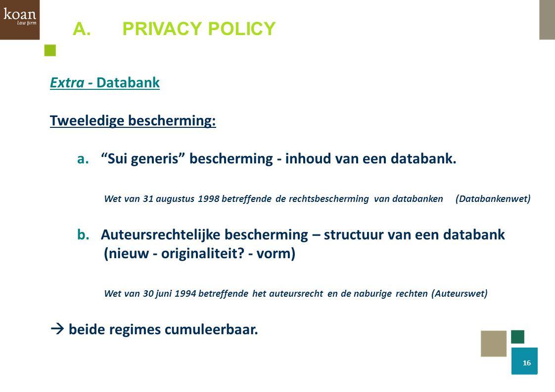 PRIVACY POLICY Extra - Databank Tweeledige bescherming: