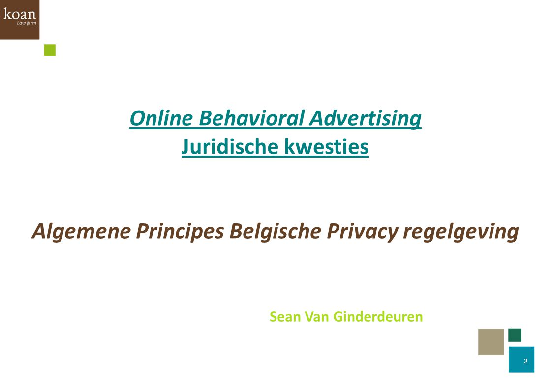 Online Behavioral Advertising Juridische kwesties