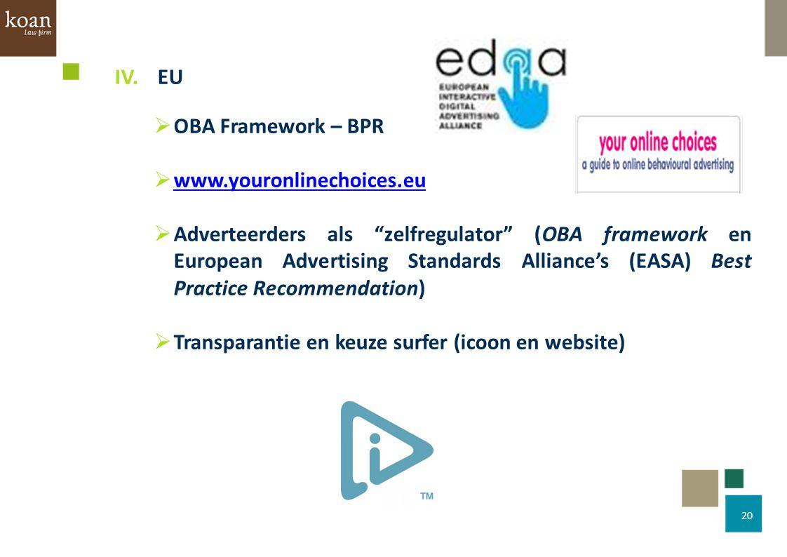 IV. EU OBA Framework – BPR. www.youronlinechoices.eu.