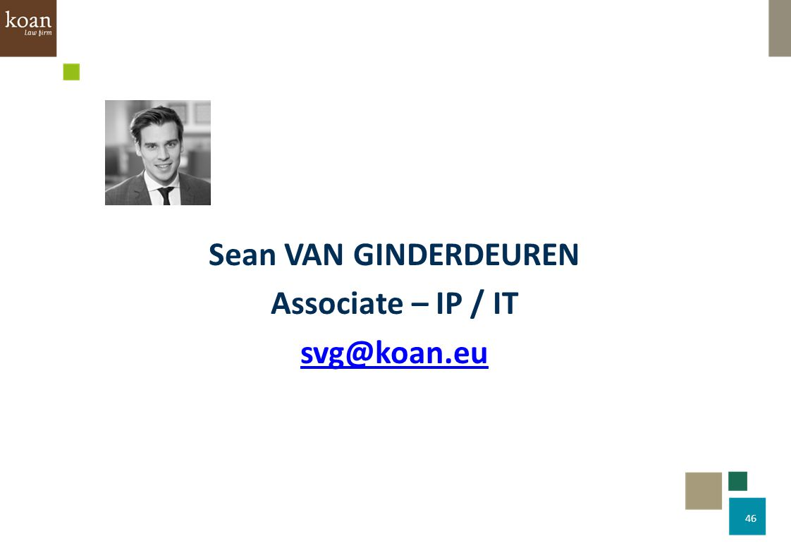 Sean VAN GINDERDEUREN Associate – IP / IT svg@koan.eu