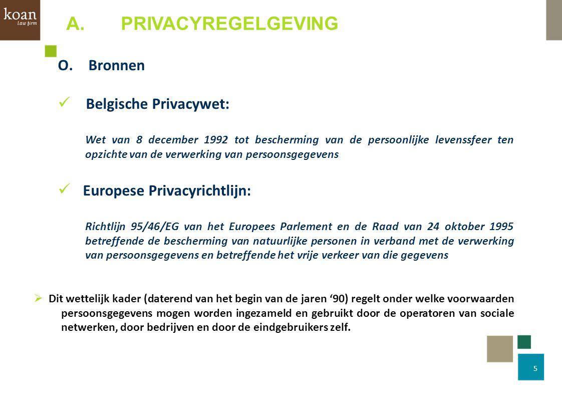 A. PRIVACYREGELGEVING O. Bronnen Belgische Privacywet: