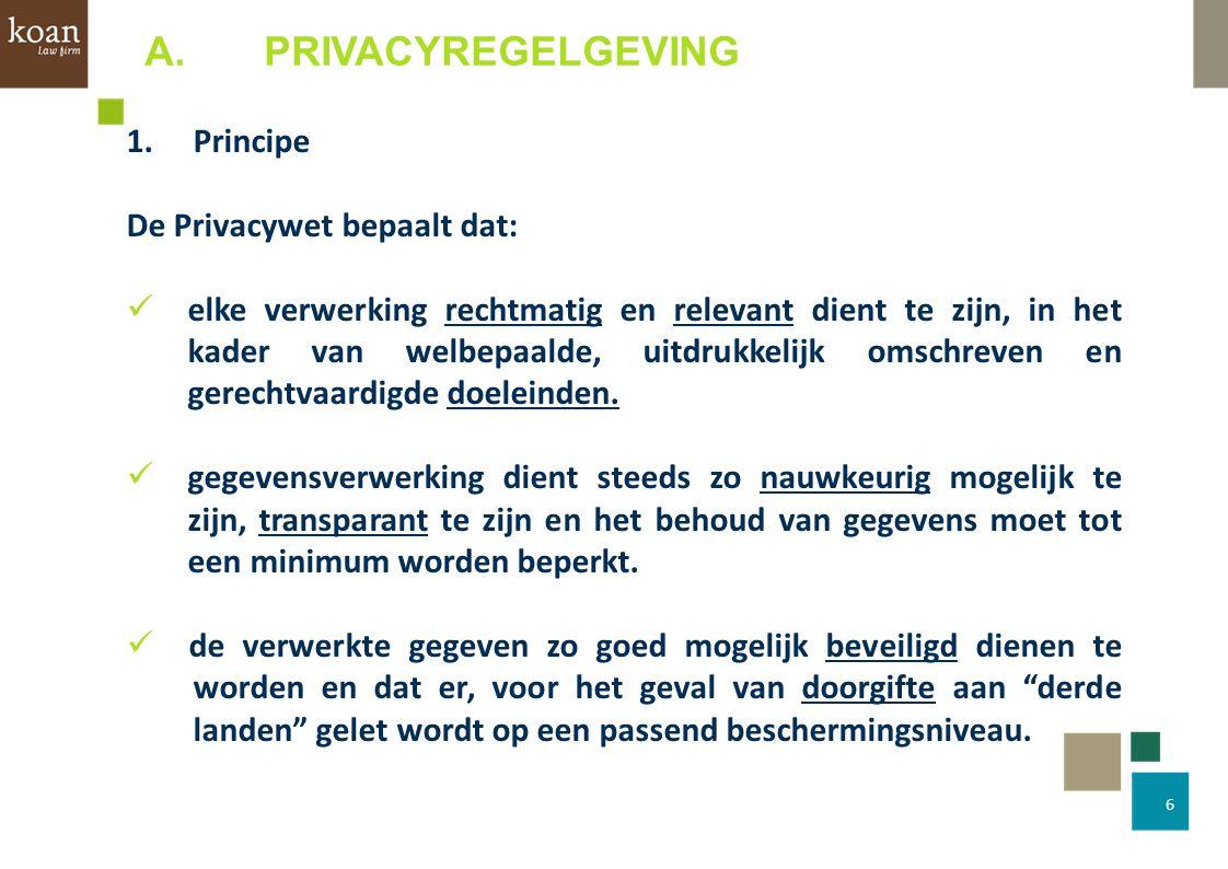 A. PRIVACYREGELGEVING 1. Principe De Privacywet bepaalt dat: