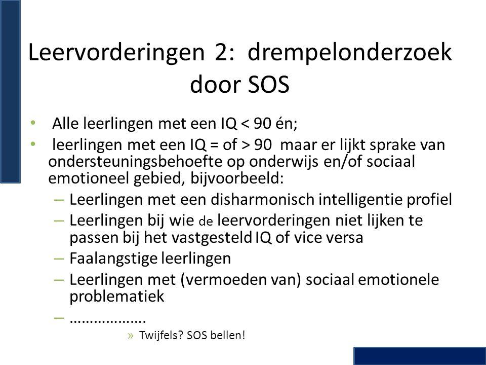 Leervorderingen 2: drempelonderzoek door SOS
