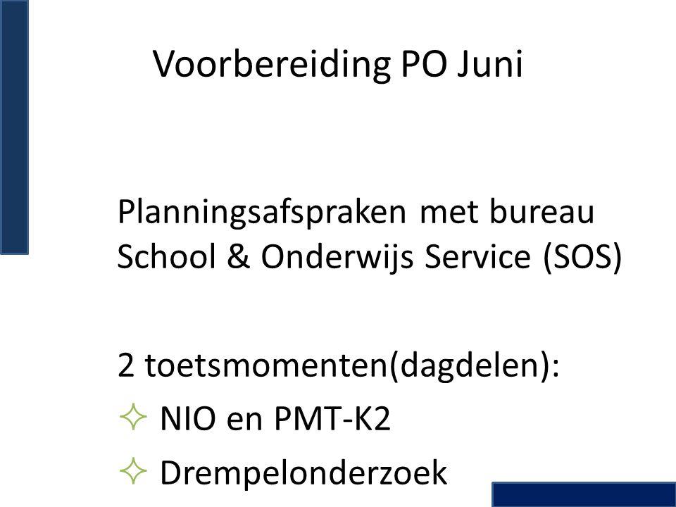 Voorbereiding PO Juni Planningsafspraken met bureau School & Onderwijs Service (SOS) 2 toetsmomenten(dagdelen):