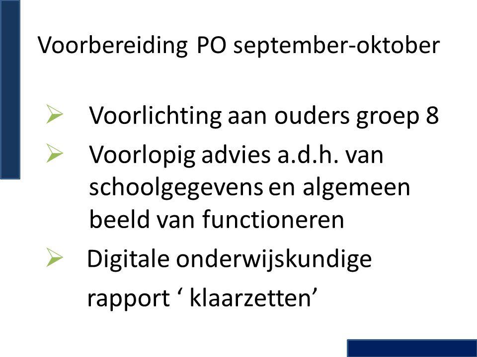 Voorbereiding PO september-oktober
