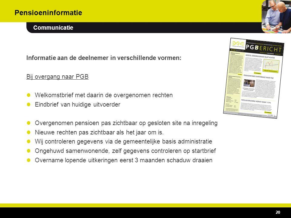 Pensioeninformatie Communicatie. Informatie aan de deelnemer in verschillende vormen: Bij overgang naar PGB.