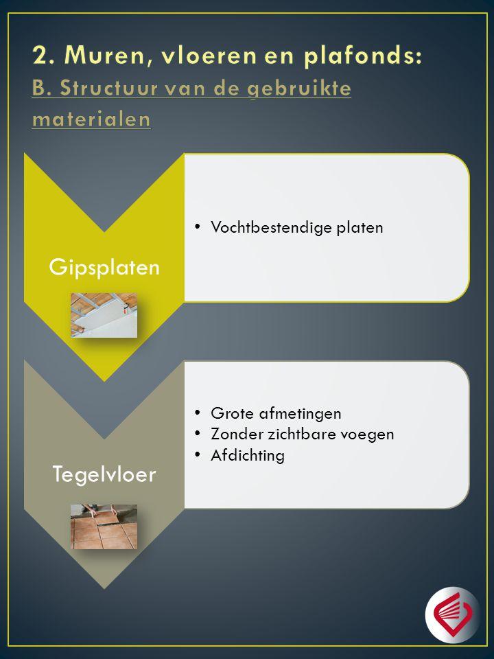 2. Muren, vloeren en plafonds: B. Structuur van de gebruikte materialen