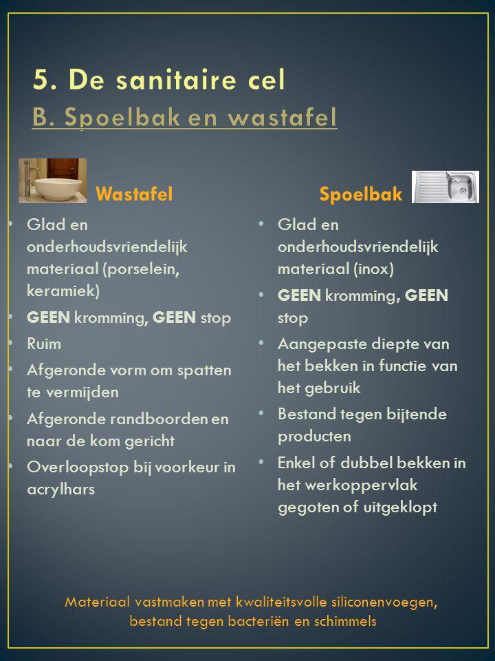5. De sanitaire cel B. Spoelbak en wastafel