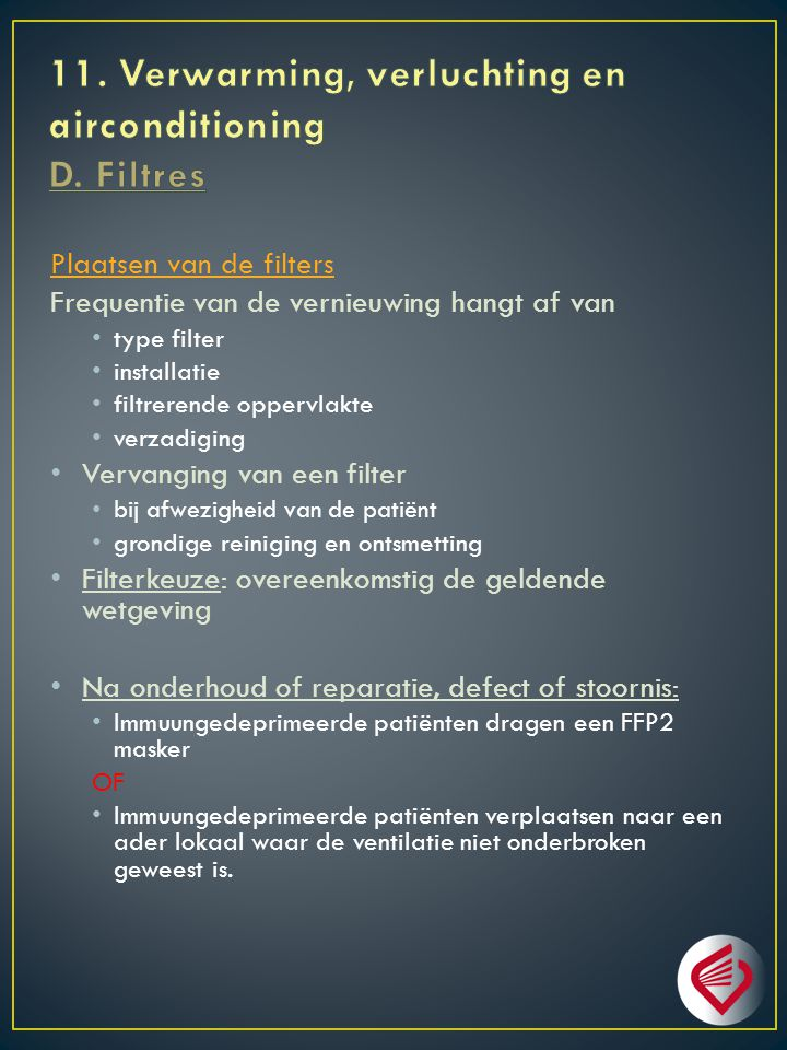 11. Verwarming, verluchting en airconditioning D. Filtres