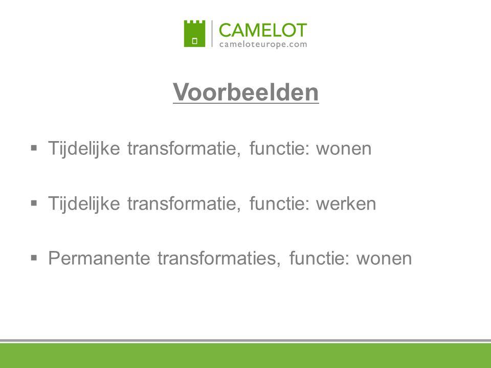 Voorbeelden Tijdelijke transformatie, functie: wonen