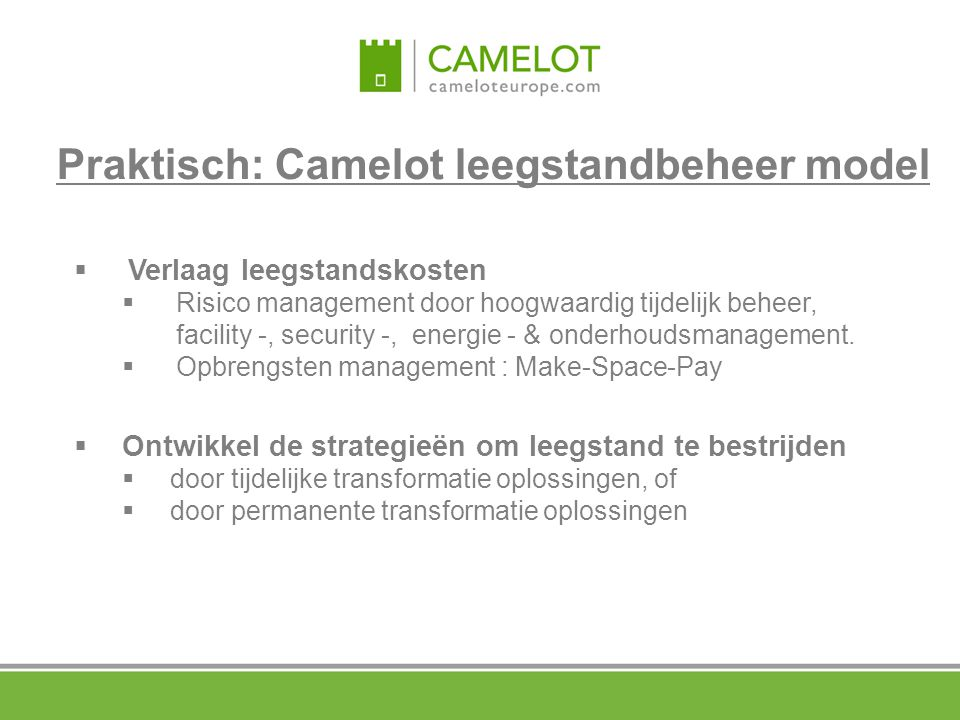 Praktisch: Camelot leegstandbeheer model