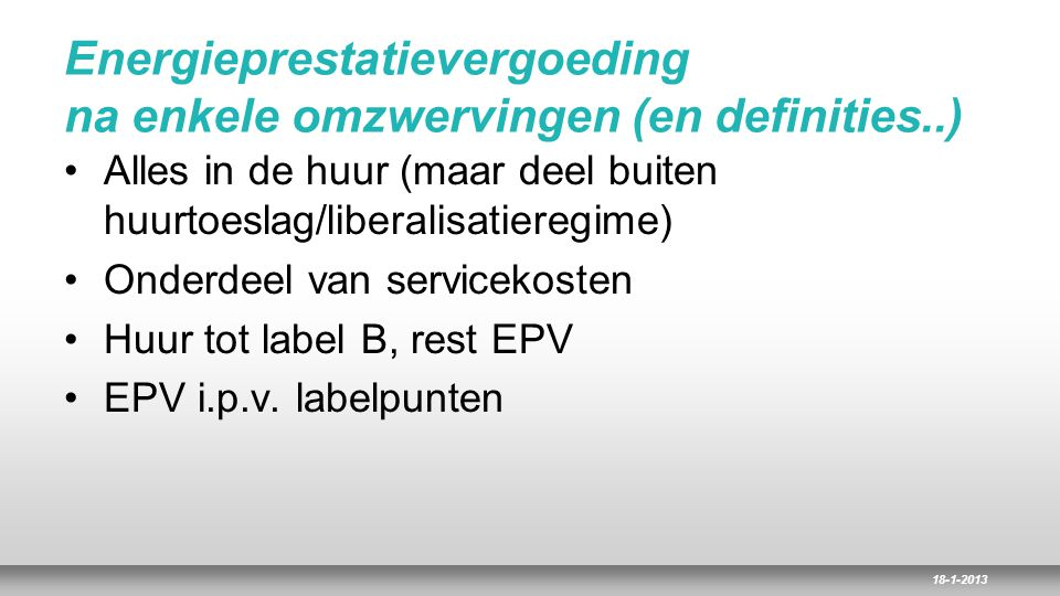 Energieprestatievergoeding na enkele omzwervingen (en definities..)