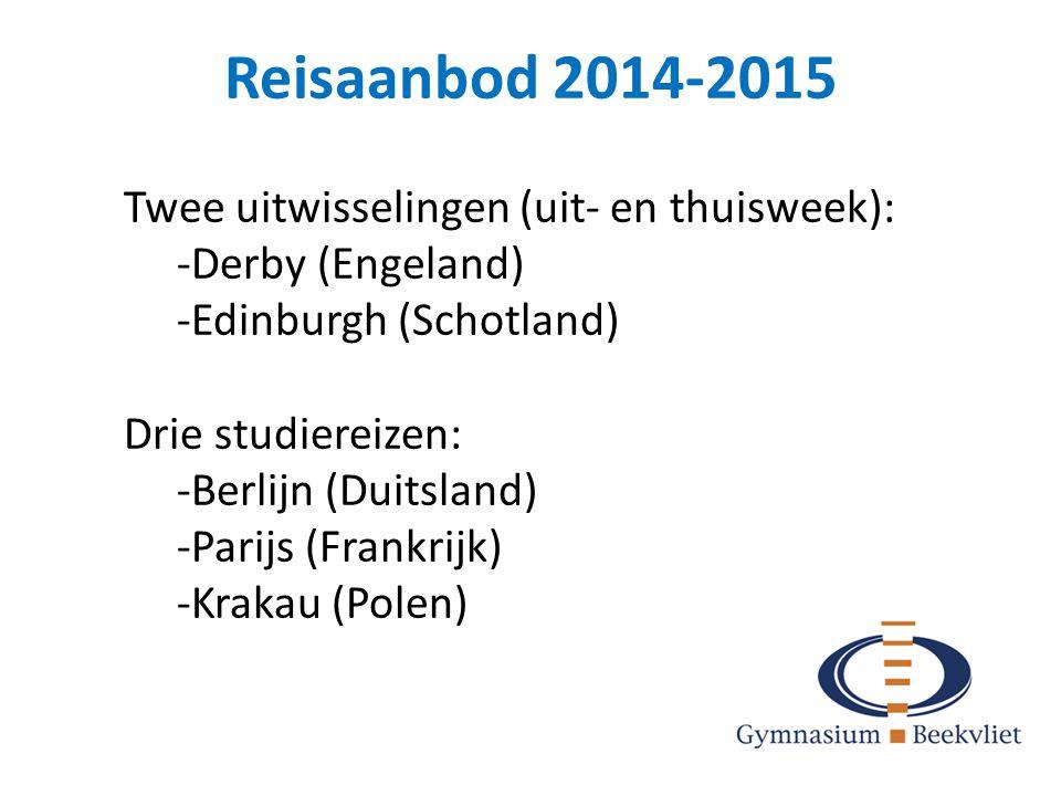 Reisaanbod 2014-2015 Twee uitwisselingen (uit- en thuisweek):