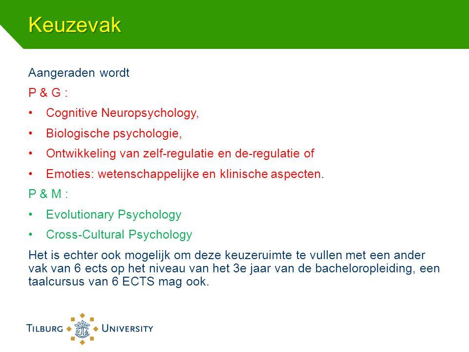 Keuzevak Aangeraden wordt P & G : Cognitive Neuropsychology,