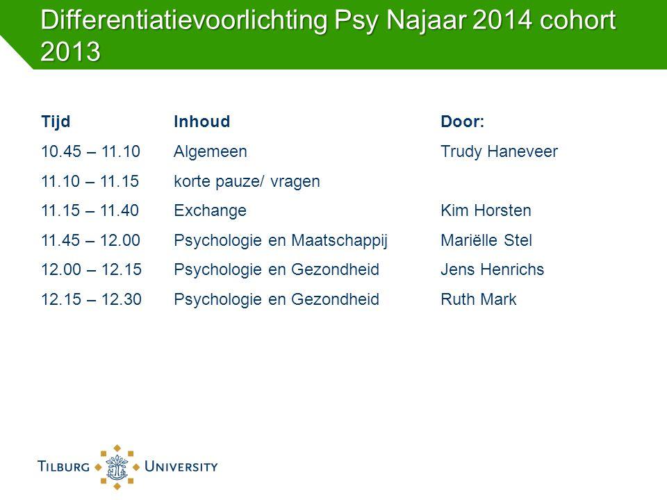 Differentiatievoorlichting Psy Najaar 2014 cohort 2013