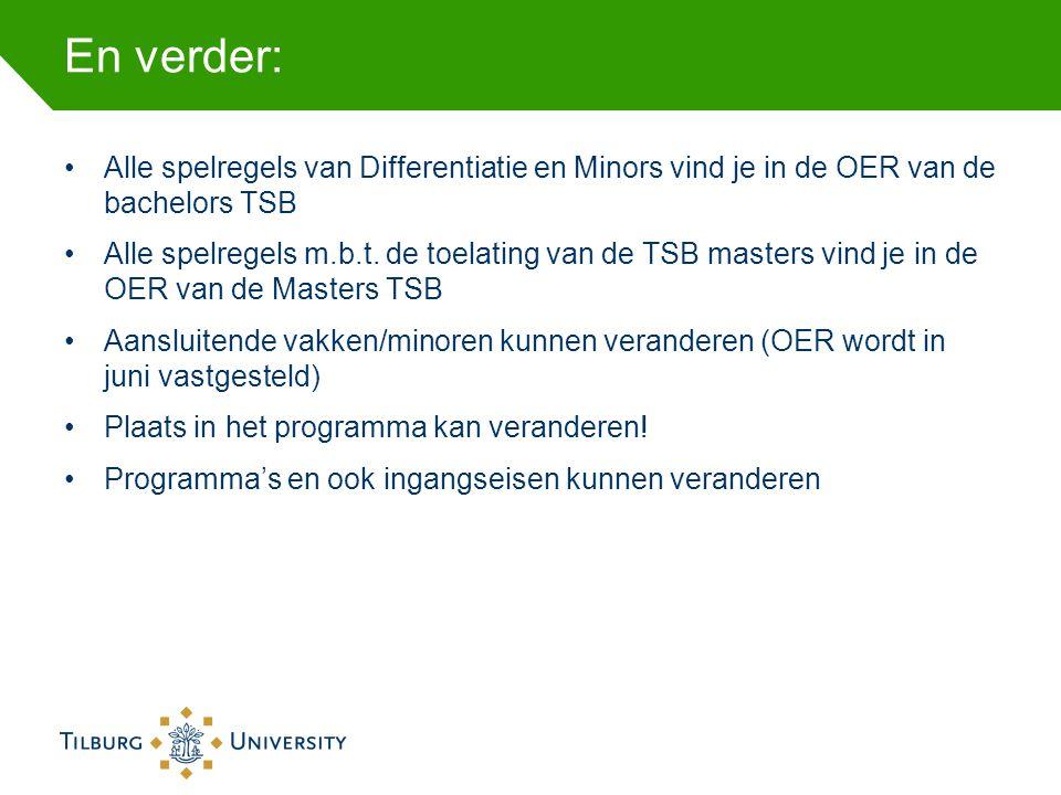 En verder: Alle spelregels van Differentiatie en Minors vind je in de OER van de bachelors TSB.