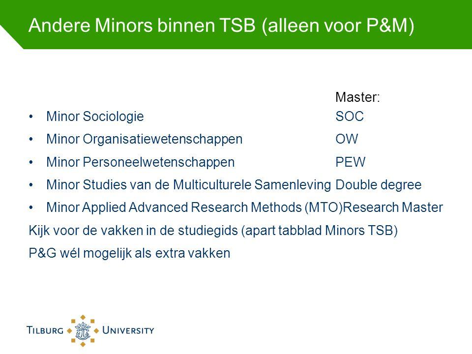Andere Minors binnen TSB (alleen voor P&M)