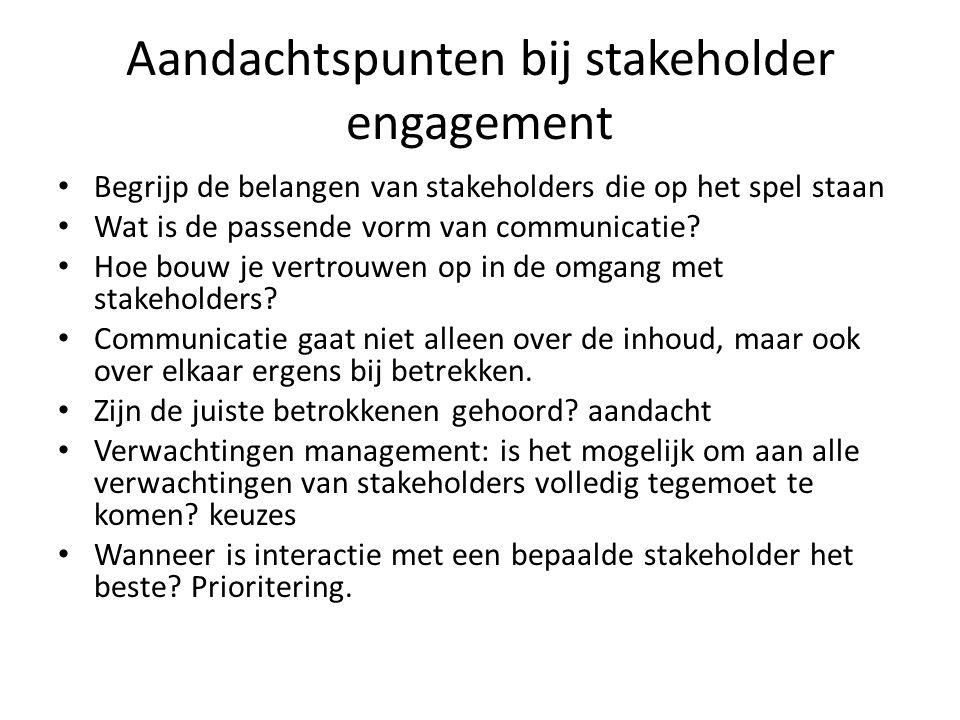 Aandachtspunten bij stakeholder engagement