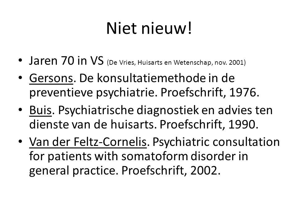 Niet nieuw! Jaren 70 in VS (De Vries, Huisarts en Wetenschap, nov. 2001)