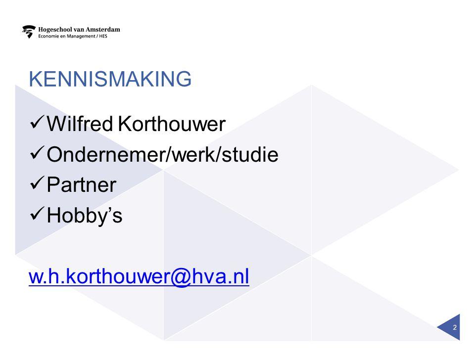 kennismaking Wilfred Korthouwer Ondernemer/werk/studie Partner Hobby's w.h.korthouwer@hva.nl