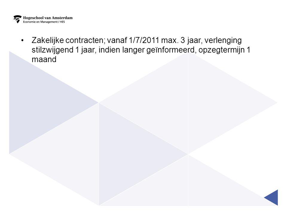 Zakelijke contracten; vanaf 1/7/2011 max