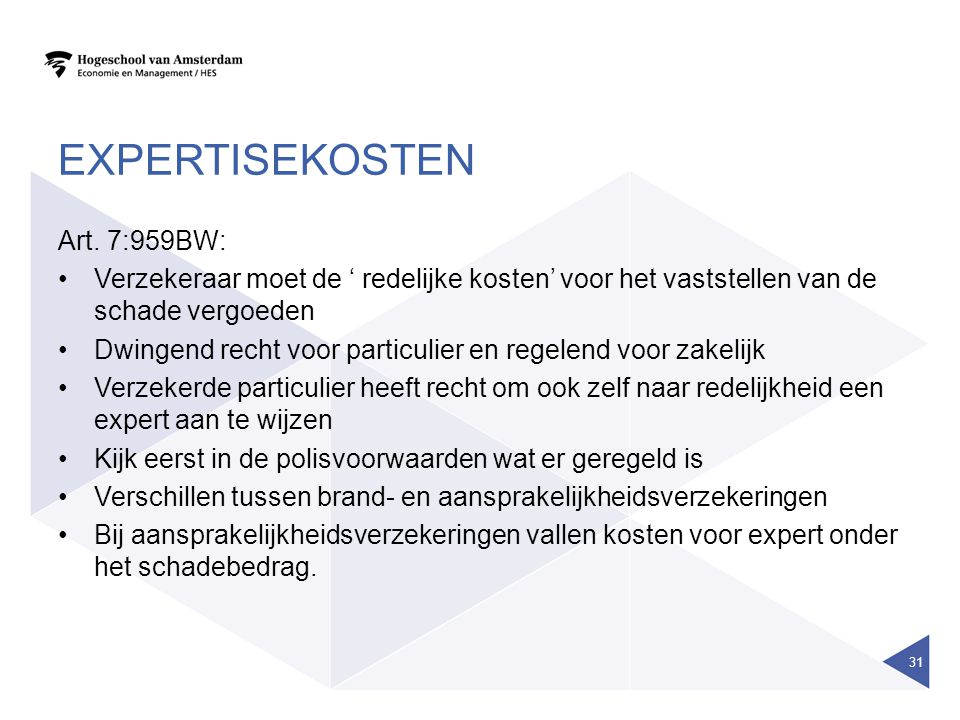 expertisekosten Art. 7:959BW: