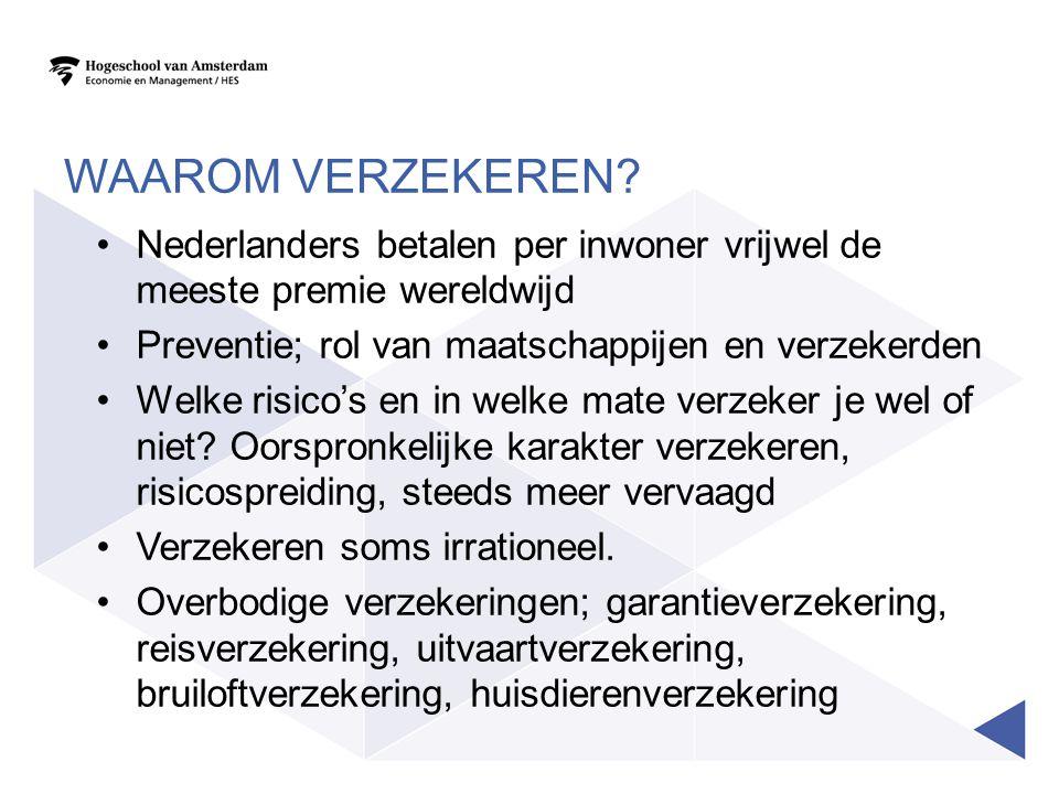 Waarom verzekeren Nederlanders betalen per inwoner vrijwel de meeste premie wereldwijd. Preventie; rol van maatschappijen en verzekerden.