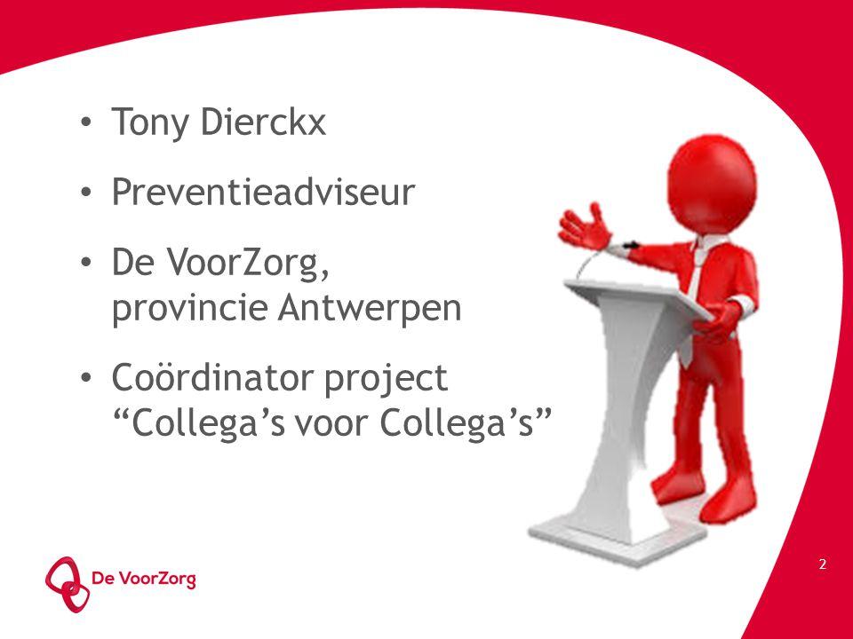 Tony Dierckx Preventieadviseur. De VoorZorg, provincie Antwerpen.