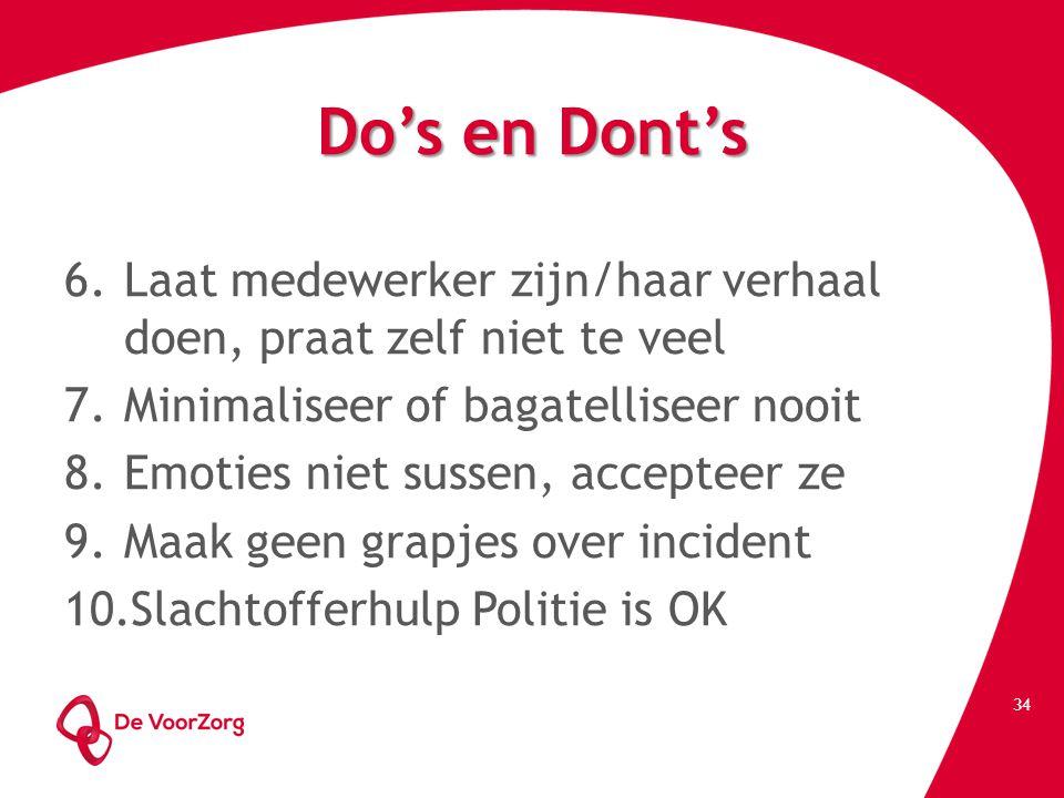 Do's en Dont's Laat medewerker zijn/haar verhaal doen, praat zelf niet te veel. Minimaliseer of bagatelliseer nooit.