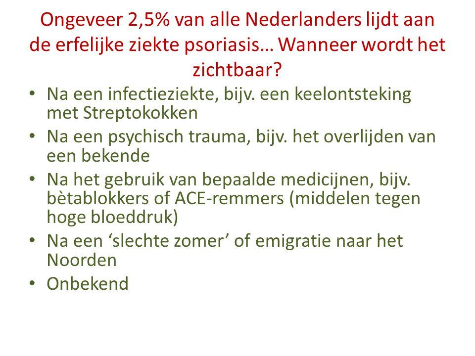 Ongeveer 2,5% van alle Nederlanders lijdt aan de erfelijke ziekte psoriasis… Wanneer wordt het zichtbaar