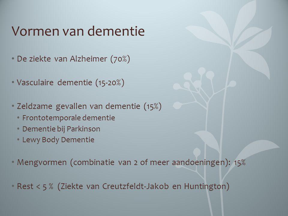 Vormen van dementie De ziekte van Alzheimer (70%)