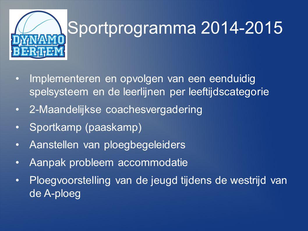 Sportprogramma 2014-2015 Implementeren en opvolgen van een eenduidig spelsysteem en de leerlijnen per leeftijdscategorie.