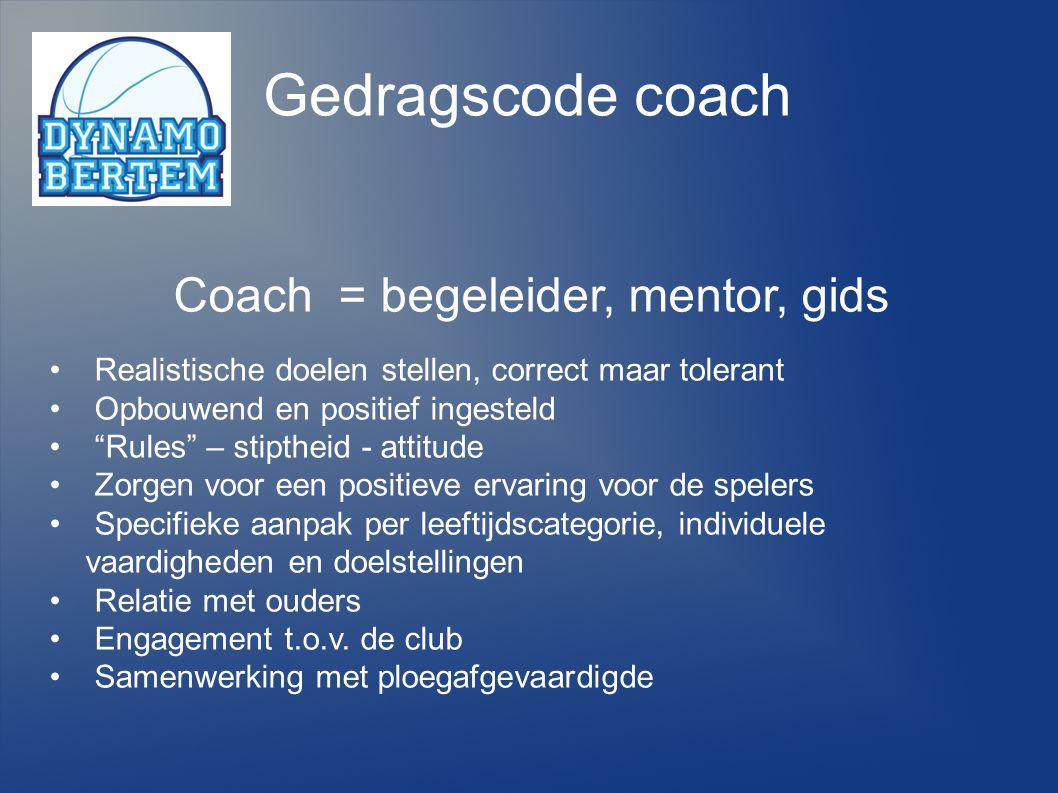 Gedragscode coach Coach = begeleider, mentor, gids