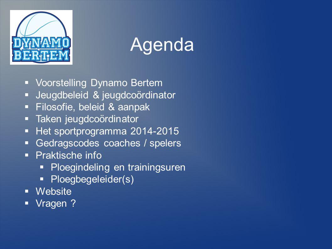 Agenda Voorstelling Dynamo Bertem Jeugdbeleid & jeugdcoördinator