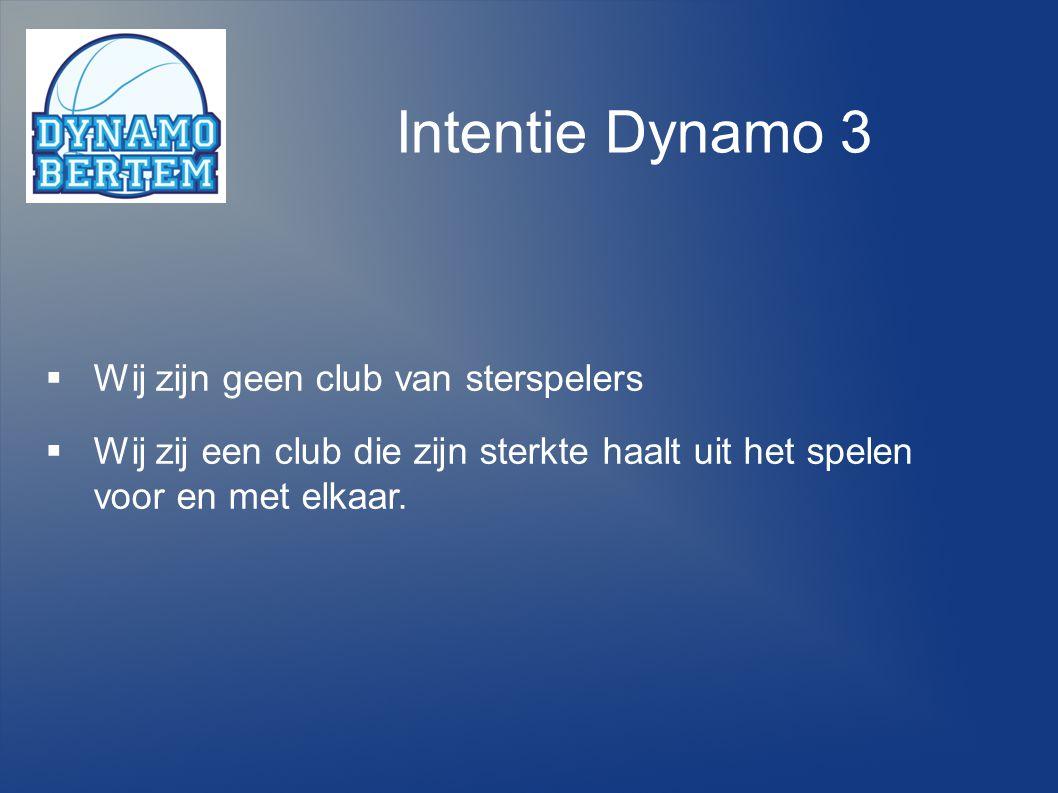 Intentie Dynamo 3 Wij zijn geen club van sterspelers
