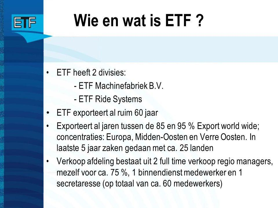 Wie en wat is ETF ETF heeft 2 divisies: - ETF Machinefabriek B.V.